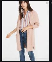 Madewell Kent Open Hip Length Heather Carnation Pink Peach Cardigan Sweater Nwt