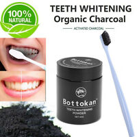 45g Activated Charcoal Teeth Whitening 100% Organic Tooth Powder + Toothbrush