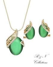 14K Gold Plated Green Opal made With Swarovski Necklace & Earrings Jewellery Set