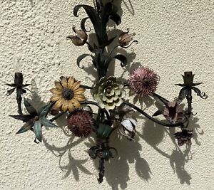 ORIGINAL ENGLISH ART AND CRAFTS TOLL WARE FLOWER CHANDELIER C1890