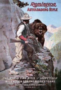 REMINGTON RIGHT OF WAY TIN SIGN RIFLES AMMUNITION SHELL FIREARMS  BEAR GRIZZLY