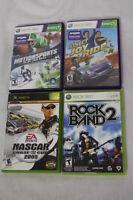 Lot of 4 XBOX 360 Live & Kinect Games,RockBand2,Nascar,MotionSports,JoyRide
