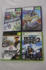 Lot of 4 XBOX 360 Live & Kinect Games,RockBand2,Nascar,MotionSports,JoyRide