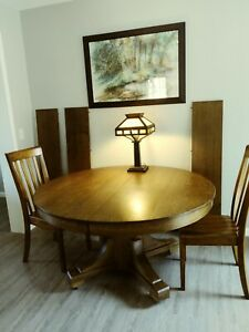 """Arts & Crafts Mission 54"""" Round Oak Dining Table & 3 Leaves"""
