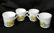 Set 4 Retired Corning Replacement Coffee Cups Mugs Sensations Sunflower Pattern