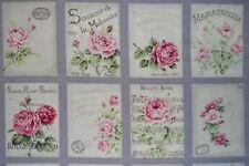 coupon de 8 vignettes de tissu patchwork shabby Mary Rose ton mauve