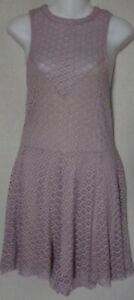 Express Large Blush Purple High Neck Stretch Lace Shorts Romper w/Nude Lining L