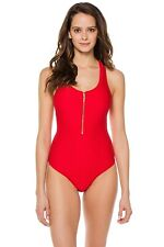 Heidi Klein 166832 Womens Racerback One-Piece Swimsuit Solid Red Size Small