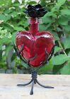 Sm Red Glass Heart Handblown Handwrought Stand Stopper Decanter Mexican Folk Art