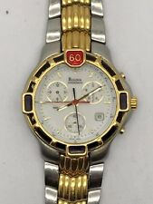 BULOVA CHRONOGRAPH STAINLESS STEEL GOLD PLATE SWISS WATCH WATER RESISTANT 7.5""