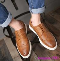 Mens Leisure Brogue Carved Wing Tip Lace Up Dress Formal Sneakers Shoes Oxfords