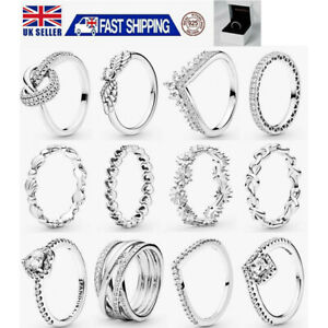 UK S925 Genuine Silver Pandora Sparkling Stackable Ring & With Gift Box NEW