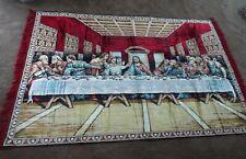 "Vintage Last Supper Leonardo Da Vinci Jesus Apostle Rug Velour Tapestry 73 x 48"""