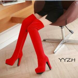 Women's Block High Heels Zip Up Over The Knee Thigh Stretch Boots Fashion Punk