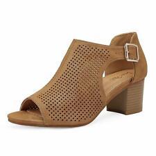 Dream Pairs Women's Low Cutout Heel Sandals Peep Toe Ankle Strap Dress Shoes