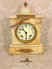 Antique Ansonia Onyx Clock Time & Strike Porcelain Face Running?