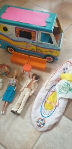 Barbie beach bus surfer Camper + Boot + Mann 1968 + Frau 1966 + Zubehör Konvolut