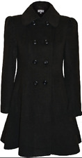 Women Double Breasted Long Coat Wool Touch Fit And Flare Ladies Winter Coat