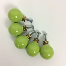 New listing Ceramic Ball Drawer Cabinet Pulls Set Of 5 Lime Green Vintage Mid Century