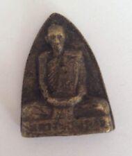 Statuette figurine amulette bronze BOUDDHA BONZE PLAQUE Thaïlande b183