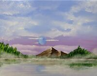Foggy Lake (Original Acrylic Painting on Canvas)