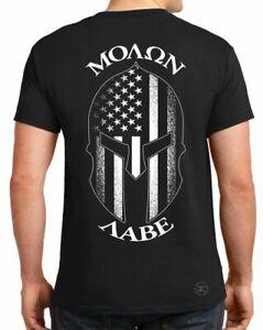 Spartan Helmet Molon Labe T-SHIRT ~ Patriot USA Flag Tee ~ American 2nd GUNS