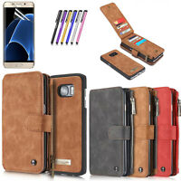 For Samsung Galaxy S7 /Note 7 Genuine Leather Wallet Zipper Flip Card Case Cover