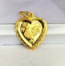 Zodiac 24K Solid Gold Roster Animal Sign Heart Shape Charm/ Pendant, 2.10 Grams