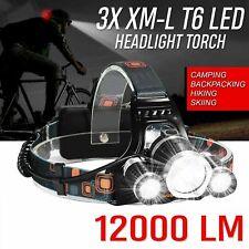 LED Head Torch Headlamp 3xT6 Rechargeable Headlight Lamp Flashlight 120000LM ECO