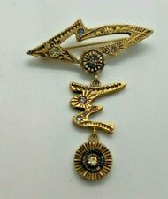 Patricia Locke Swarovski dangle rhinestone crystal brooch