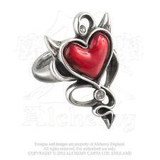 Alchemy - Corazón Diablo - Peltre Y Cristal Anillo Tamaño T