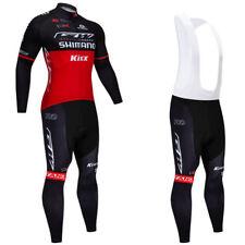 Long Sleeve Mens Cycling Jersey Bib Pants Kits Red Long Sleeve Shirt Tights Set