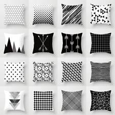 Black & White geométrica Tirar Cubierta Funda De Almohada Cojín Cuadrado Decoración Estilos nórdico