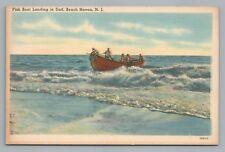 Fish Boat Landing BEACH HAVEN New Jersey Shore—Rare Vintage Linen Postcard 1940s
