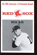 1969 Atlantic Richfield Boston Red Sox 100 Anniversary Flyer / Advertisement