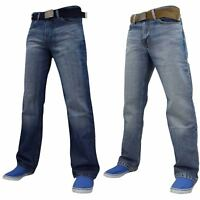 Mens Branded FBM Zip Fly Denim Jeans Trousers Light & Dark Washed + Free Belt