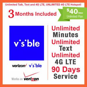 3 MONTHS VISIBLE (VERIZON) SIM Card $40 PLAN 90 Days Preloaded UNLIMITED LTE