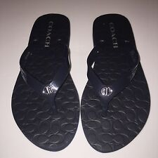 GIRLS WOMENS COACH FLIP FLOPS SANDALS BLACK SIZE 5 / 6 YOUTH NEW NO BOX