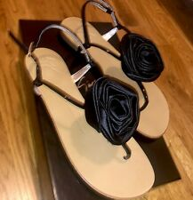 Giuseppe Zanotti Sandals Sz 6 36 NEW Flats Thong Black Satin Rose Patent Leather