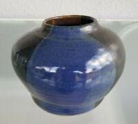 Signed Studio Art Pottery Vase Cobalt Blue Nice Glaze Stoneware Modern