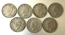 Lot of 7 George VI 1/2 Crown Coins United Kingdom
