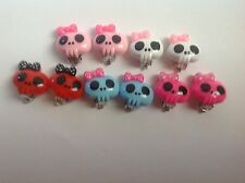 Girls Silver Plated Clip on Skull with Polka dot Bow Earrings Party Bags / Gifts