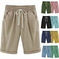 Women's Summer Capri Shorts Trousers Casual Loose Summer Beach Crop Pants S-6XL
