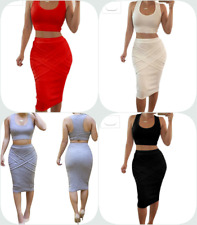 Bess Bridal Women's Two Piece Crop Top Midi Skirt Outfit Skinny Bandage Dress
