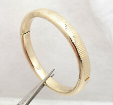 Diamond Cut Hinged Round Bangle Bracelet 14K Yellow Gold Clad Silver