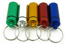 10PCS Aluminum Pill Capsule Box Case Holder Bottle Stash Container Key Ring
