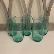 """Lot Of 5 6"""" Tall Blue Green Glass Juice Drinking Glasses"""