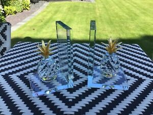 Stunning Quality Glass Made Crystal Pineapple Bookends Gold And Clear