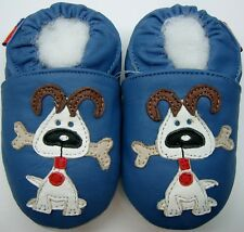minishoezoo soft sole leather baby walking shoes 12-18m dog blue