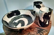 "8"" decorative zen sumi-e ceramic bowl with two cups"